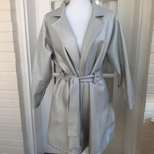 90's Metallic Silver Trench Coat